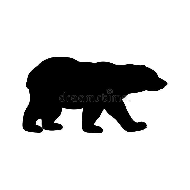 Niedźwiedzia polarnego lisiątka sylwetki dziki czarny zwierzę ilustracji