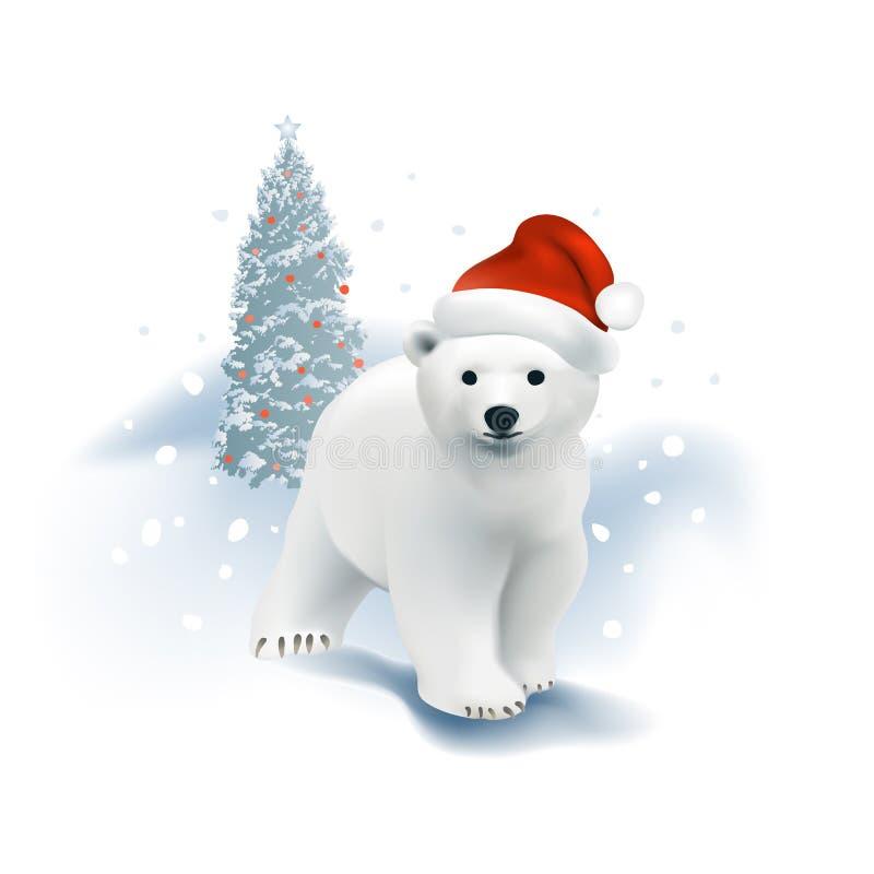 Niedźwiedzia polarnego lisiątko z Santa choinką i kapeluszem ilustracji
