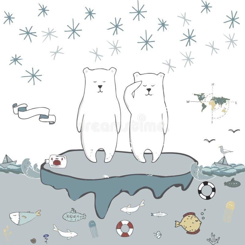 Niedźwiedzia polarnego lodowego floe wektorowy świętowanie wita urodzinowej karty zimy szkoły xmas dnia listu trybowych życz ilustracja wektor