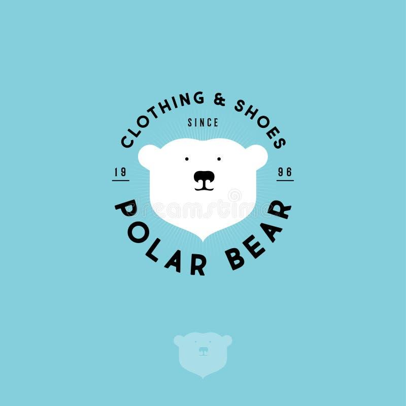 Niedźwiedzia polarnego logo Odziewać i buta emblemat Głowa niedźwiedź polarny i listy na okręgu ilustracji