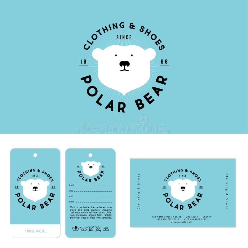 Niedźwiedzia polarnego logo Odziewać i buta emblemat Głowa niedźwiedź polarny i listy na okręgu ilustracja wektor