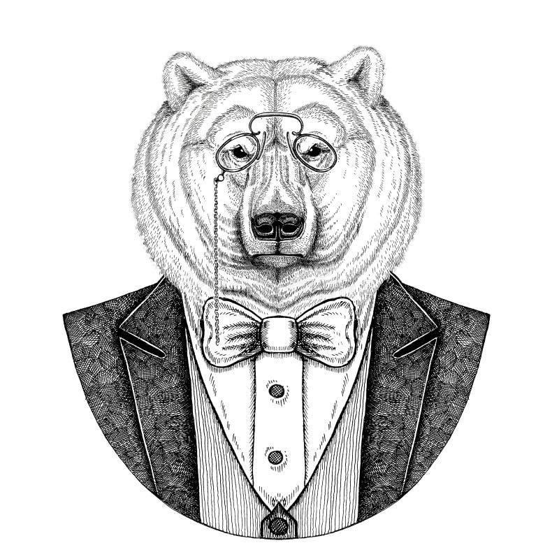 Niedźwiedzia polarnego modnisia zwierzęca ręka rysująca ilustracja dla tatuażu, emblemat, odznaka, logo, łata, koszulka royalty ilustracja