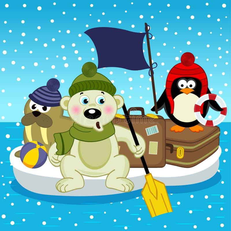 Niedźwiedzia polarnego morsa pingwinu podróż na floe royalty ilustracja