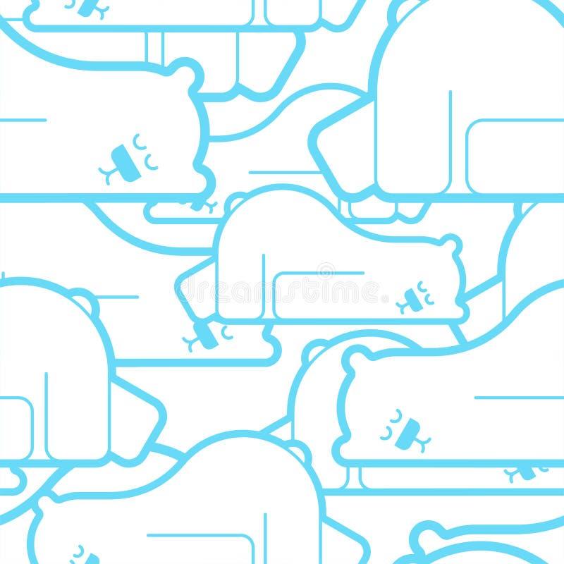 Niedźwiedzia polarnego uśpiony deseniowy bezszwowy Bestia jest sypialnym tłem najlepszego ?ci?gania oryginalni druki przygotowywa ilustracja wektor