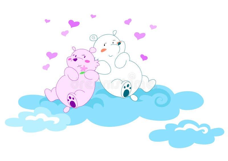 niedźwiedzie 2 miłość ilustracyjna vectorial royalty ilustracja