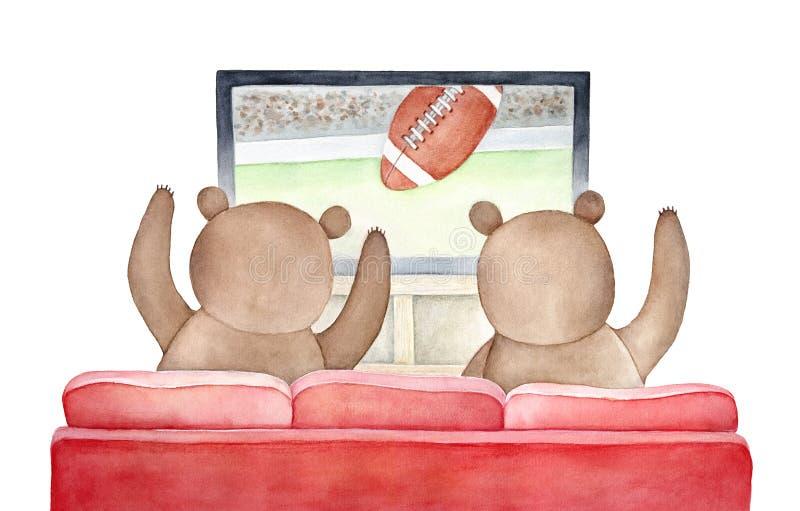 Niedźwiedzie brunatni ogląda TV transmitowanie futbolu amerykańskiego dopasowanie royalty ilustracja