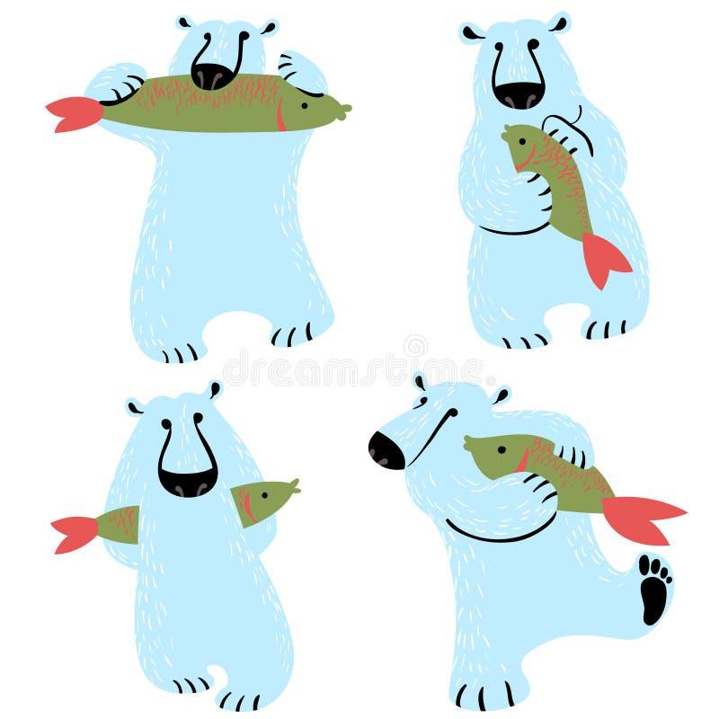 Niedźwiedzie polarni ustawiający z ryba Śliczny dziki antarctic i arktyczny zwierzę ilustracja wektor
