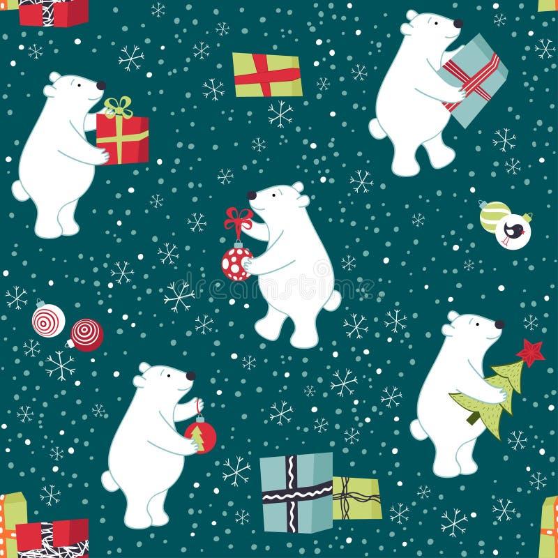 Niedźwiedzie przygotowywają dla bożych narodzeń, przygotowywa prezenty, dekorują choinki ilustracja wektor