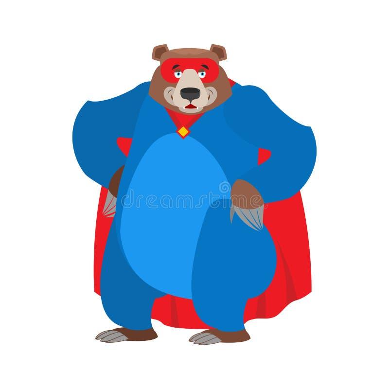 Nied?wiadkowy bohater Super grizzly w masce i deszczowu Silna bestia ilustracja wektor