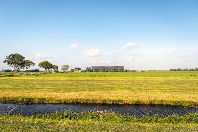 Niedawno skoszony obszar trawiasty w przedpolu z nowożytnym gospodarstwem rolnym z obraz stock