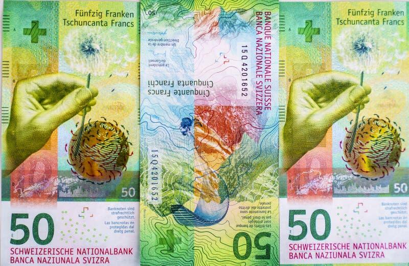 Niedawno 50 Szwajcarskiego franka rachunków fotografia royalty free