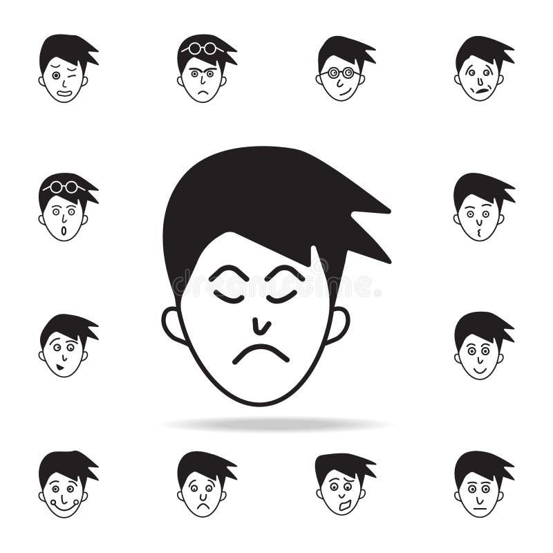 niedbałość na twarzy ikonie Szczegółowy set twarzowe emocji ikony Premia graficzny projekt Jeden inkasowe ikony dla stron interne royalty ilustracja