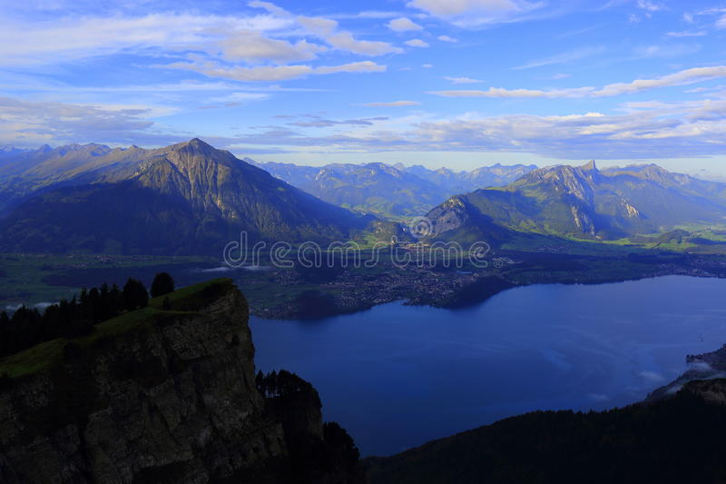 Niederhorn and Lake Thun. Swiss mountain Niederhorn and the lake Thun, in the Bernese Oberland in Switzerland stock images