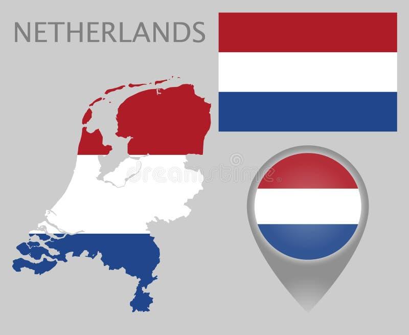 Niederländische Flagge, Karte und Kartenzeiger vektor abbildung