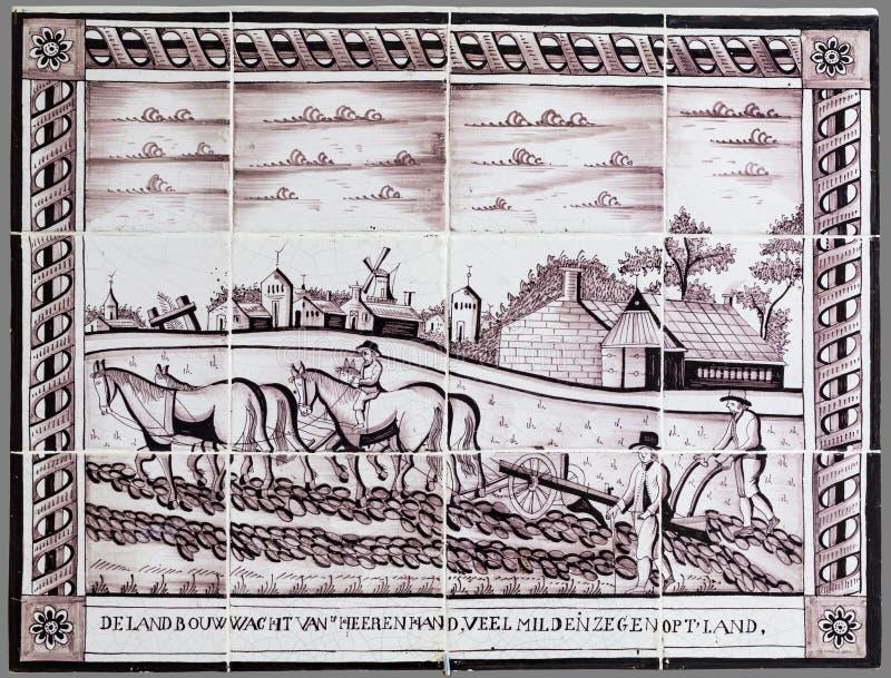 Niederländische Fliese von der 16. zum 18. Jahrhundert stockfotos