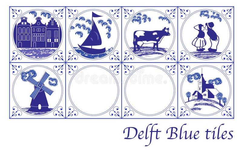 Niederländische Fliesen des Delfter Blaus mit Volksbildern stockfoto