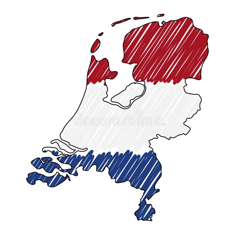 Niederländische Kartenhandgezogene Skizze Vektorkonzept-Illustrationsflagge, die Zeichnung der Kinder, Gekritzelkarte Landkarte f stock abbildung