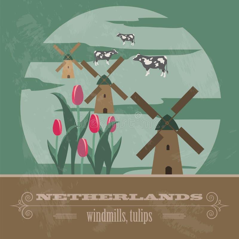 Niederländische Marksteine Retro- angeredetes Bild stock abbildung