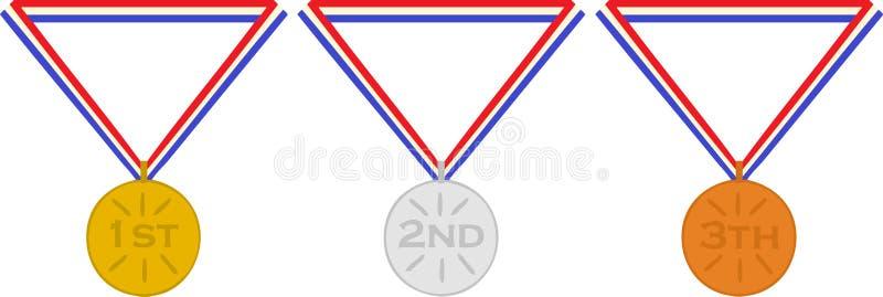 Niederländische Medaillenzuerst zweite und drittplatzierte Goldsilberbronze vektor abbildung