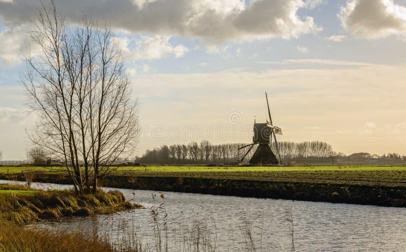 Niederländische Polderlandschaft mit einer historischen hohlen Bockwindmühle lizenzfreie stockbilder