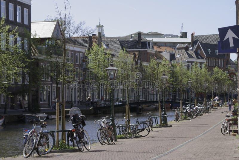 Niederländische Straße Leidens entlang einem Kanal lizenzfreies stockfoto