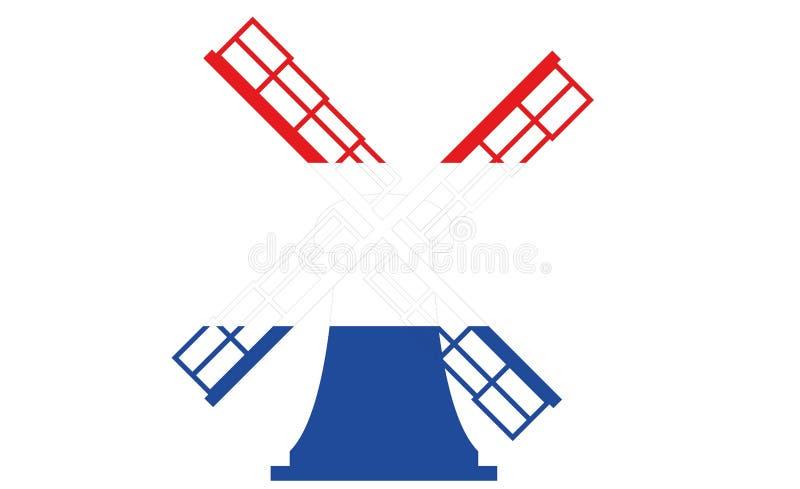 Niederländische Windmühle im roten weißen Blau stockbilder
