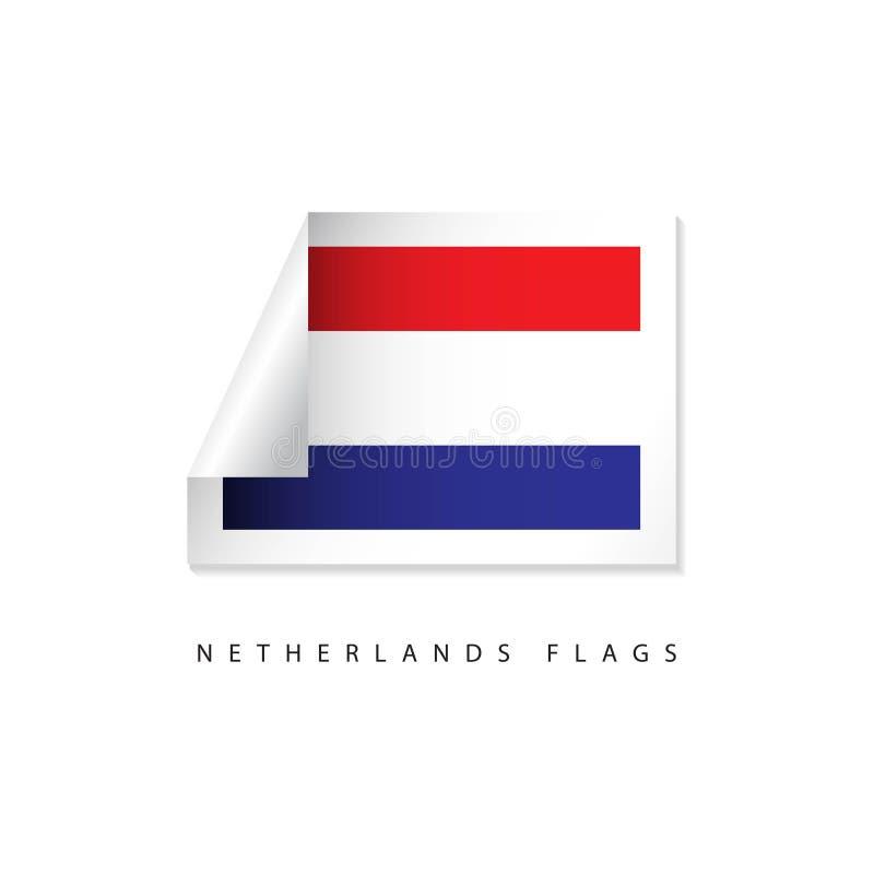Niederländischer Aufkleber-Flaggen-Vektor-Schablonen-Entwurf lizenzfreie abbildung