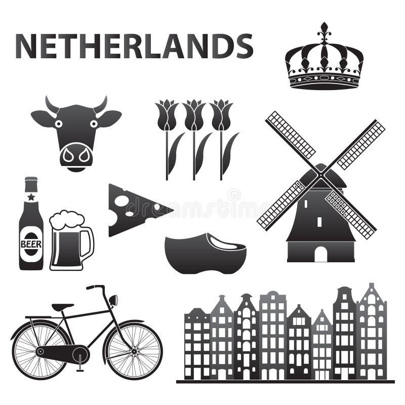 Niederländischer Ikonensatz lokalisiert auf weißem Hintergrund Holland- und Amsterdam-Symbole: Windmühle, Tulpen, Fahrrad, Bier S stock abbildung