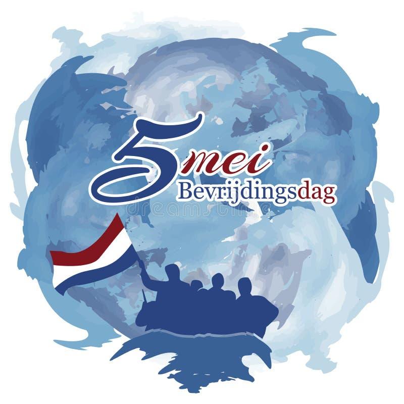 Niederländischer Nationalfeiertag des Vektorillustrationszusammenfassungs-Hintergrundes von kann 5 Bevrijdingsdag Designe für Pos lizenzfreie abbildung