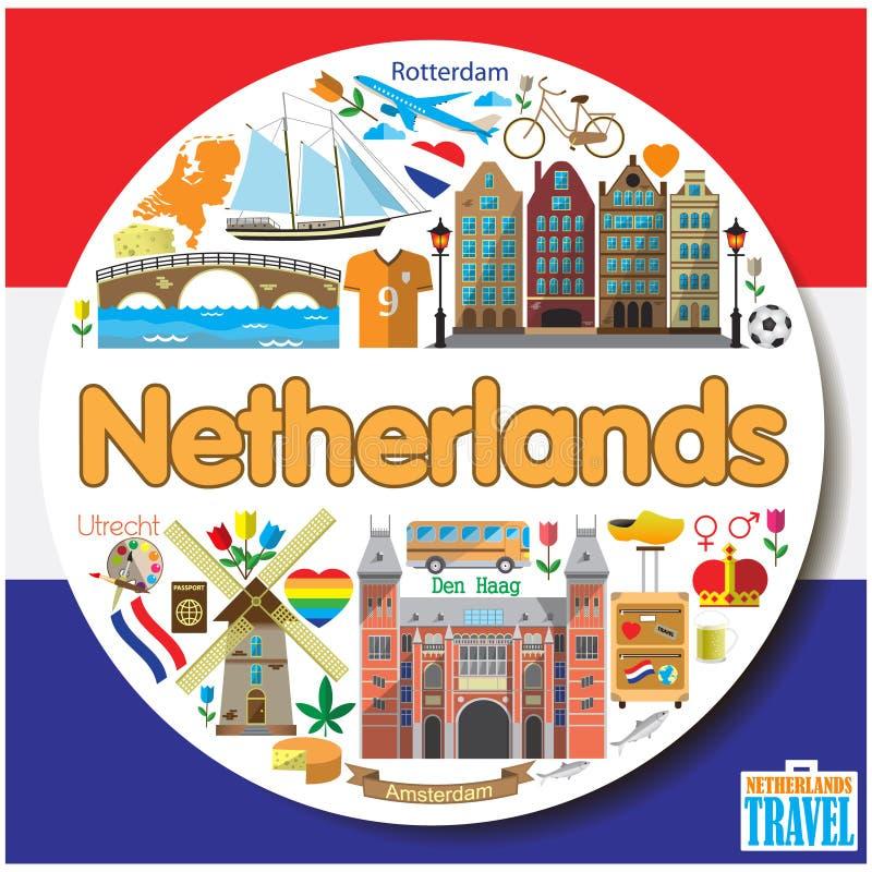 Niederländischer runder Hintergrund Vektor farbige flache Ikonen und Symbolsatz vektor abbildung