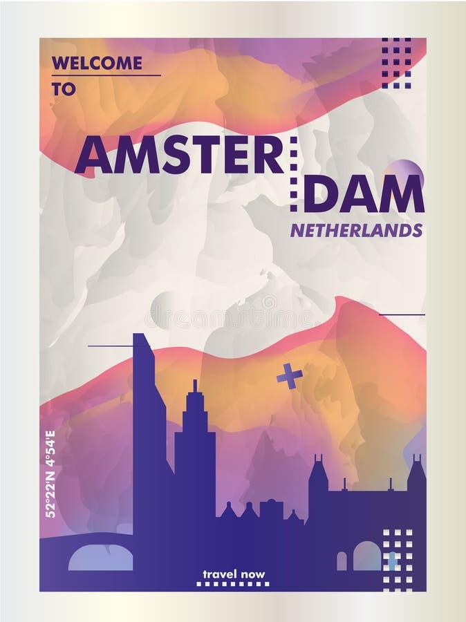 Niederländisches Amsterdam-Skylinestadtsteigungs-Vektorplakat lizenzfreie abbildung