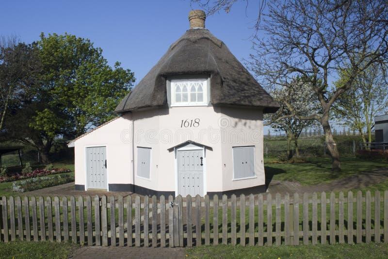Niederländisches Häuschen-Museum auf Canvey Island, Essex, England, gegen a lizenzfreies stockbild