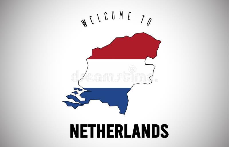 Niederländisches Willkommen zu simsen und Landesflagge innerhalb des Landgrenzekarten-Vektor-Entwurfs vektor abbildung