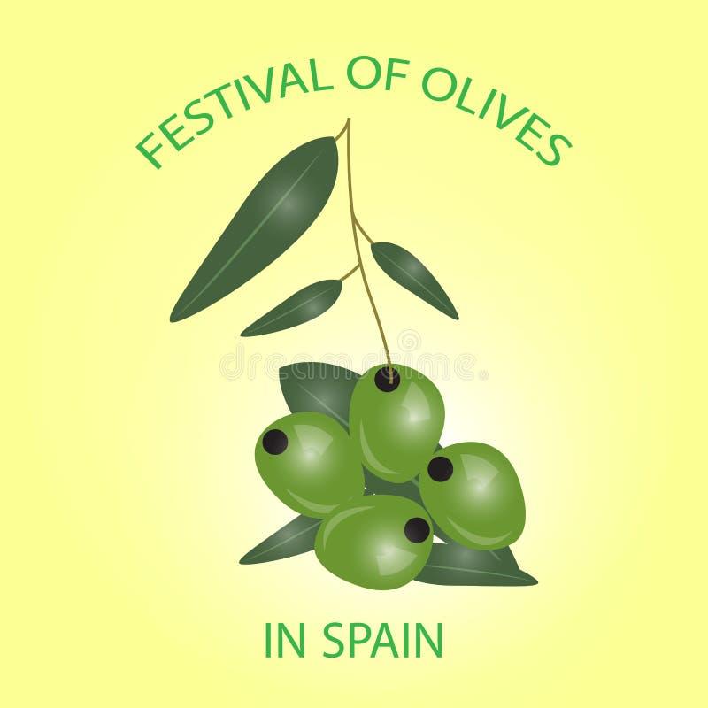 Niederlassung der grünen Oliven lokalisiert auf weißem Hintergrund Design für oli stock abbildung