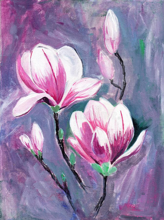 Niederlassung der rosa Magnolie mit Blumen Hand gezeichnete malende Illustration lizenzfreie abbildung