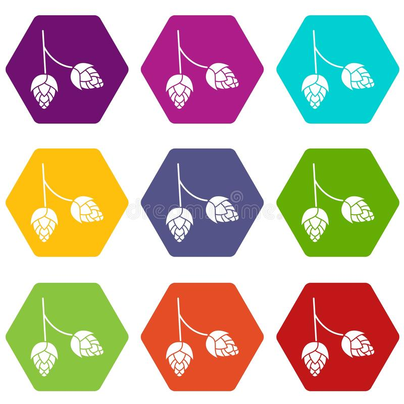Niederlassung des gesetzten hexahedron Farbe der Hopfenikone stock abbildung