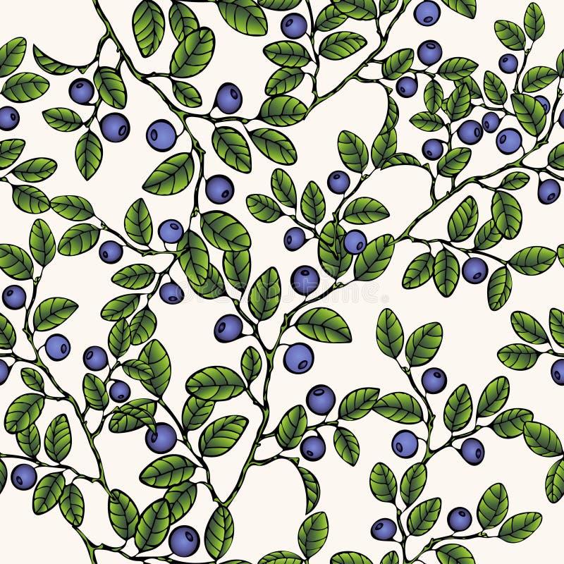 Niederlassungen von Blaubeeren nahtloses Muster, Beerenhintergrund Gemalte Frucht, grafische Kunst, Karikatur Für das Design lizenzfreie abbildung