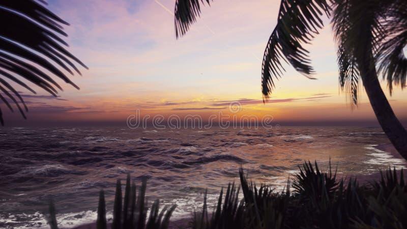 Niederlassungen von Palmen und von tropischen Anlagen im Wind bei Sonnenuntergang Wiedergabe 3d lizenzfreie abbildung