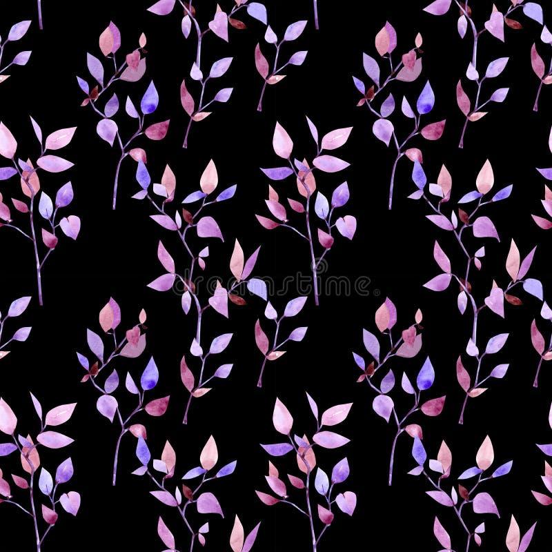 Niederlassungselemente des nahtlosen Musters des Aquarells purpurrot-rosa lizenzfreie abbildung