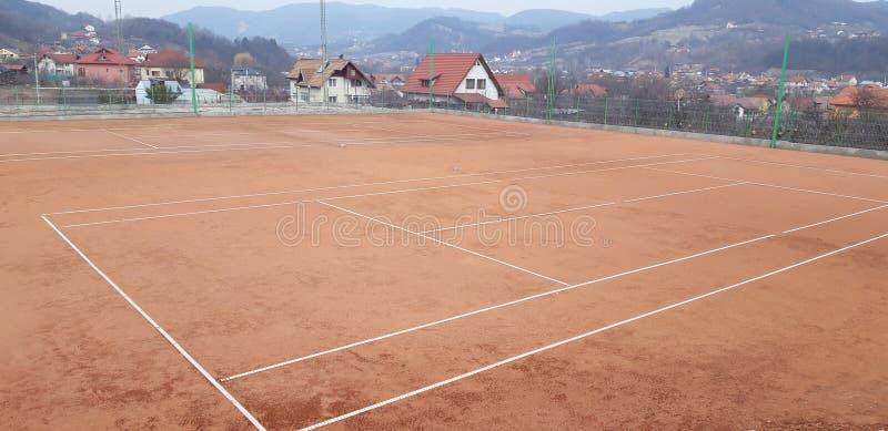 Niedokończony tenisowy sąd zdjęcie stock