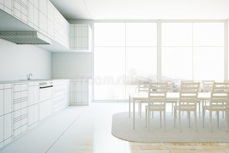 Niedokończony jaskrawy kuchenny wnętrze ilustracja wektor
