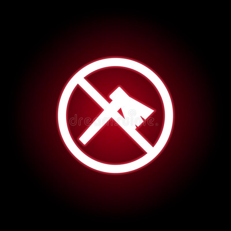 Niedozwolona ax ikona w czerwonym neonowym stylu Mo?e u?ywa? dla sieci, logo, mobilny app, UI, UX ilustracja wektor