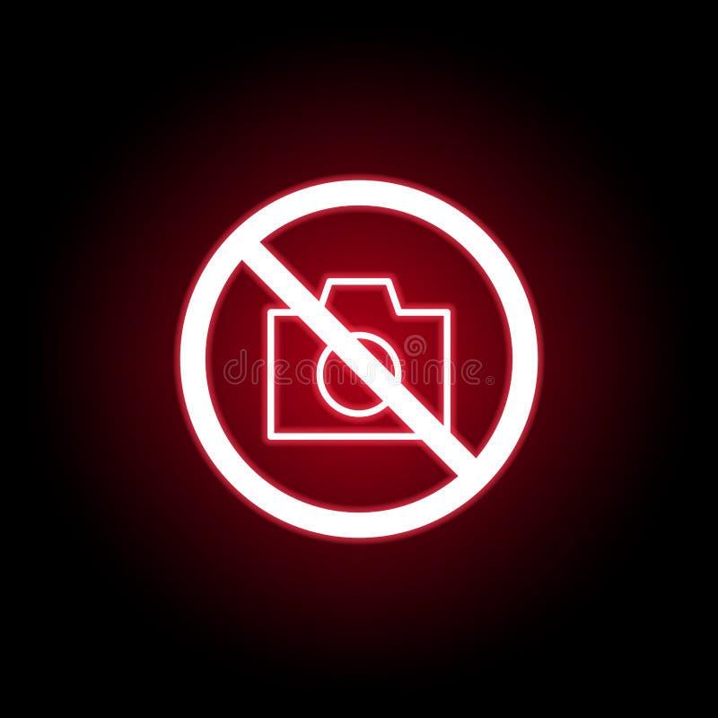Niedozwolona kamery ikona w czerwonym neonowym stylu Mo?e u?ywa? dla sieci, logo, mobilny app, UI, UX ilustracji