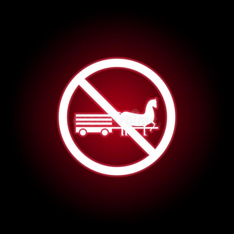 Niedozwolona końska ikona w czerwonym neonowym stylu Mo?e u?ywa? dla sieci, logo, mobilny app, UI, UX ilustracja wektor