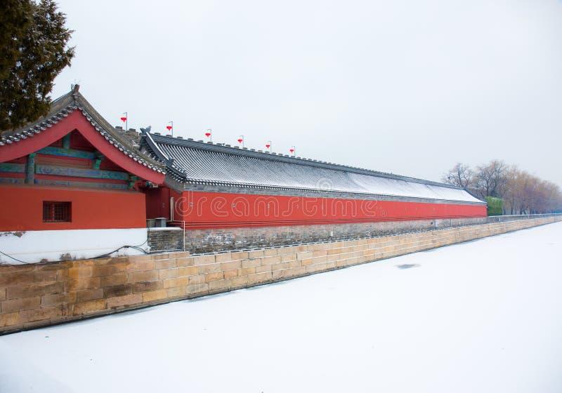Niedozwolona miasto ściana po śniegu fosy zakrywającej z śniegiem królewskich cech i znaków Królewski budynek Pekin, C fotografia stock