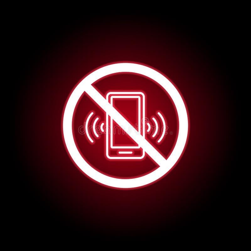 Niedozwolona rozmowy telefoniczej ikona w czerwonym neonowym stylu Mo?e u?ywa? dla sieci, logo, mobilny app, UI, UX royalty ilustracja