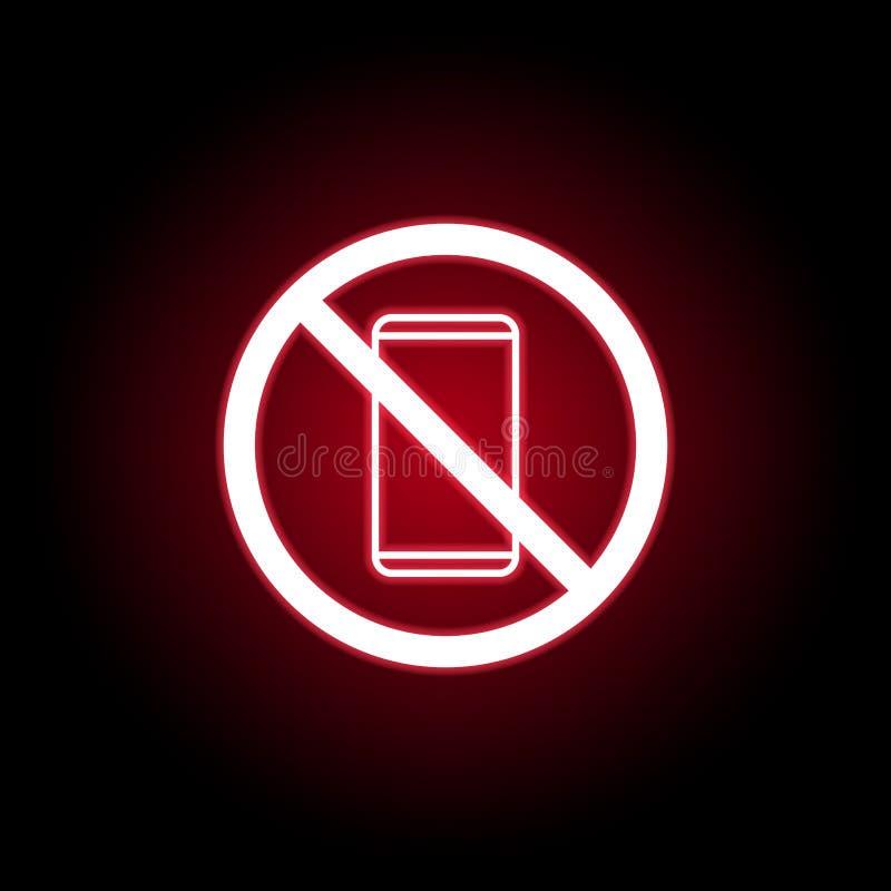 Niedozwolona telefon ikona w czerwonym neonowym stylu Mo?e u?ywa? dla sieci, logo, mobilny app, UI, UX ilustracja wektor