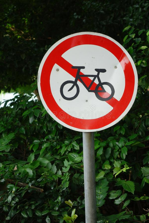 Niedozwolony rowerowy trasa znak fotografia royalty free