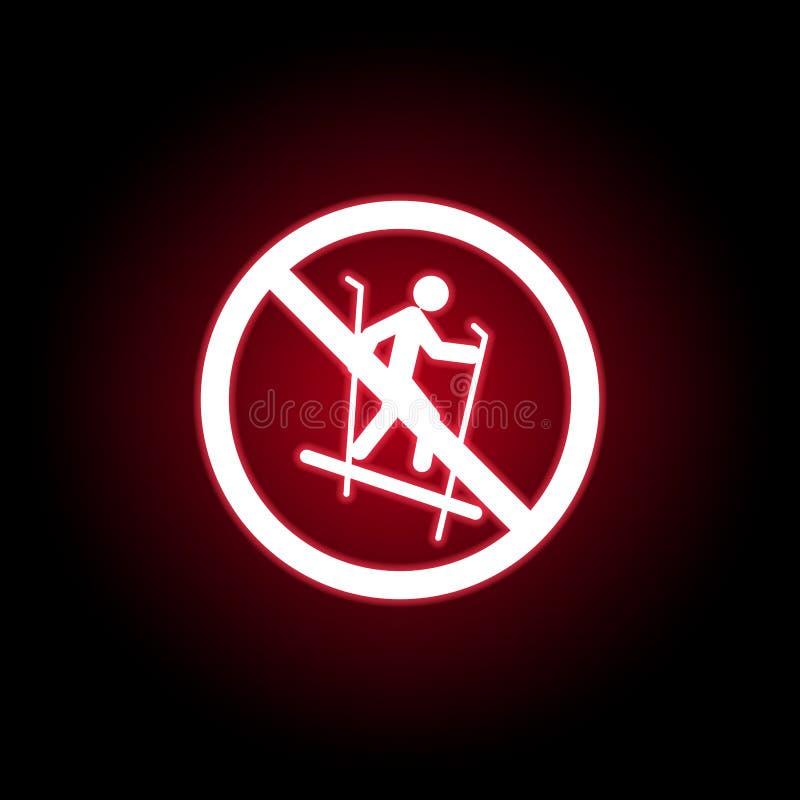 Niedozwolony sanie, narciarstwo ikona w czerwonym neonowym stylu Mo?e u?ywa? dla sieci, logo, mobilny app, UI, UX ilustracja wektor