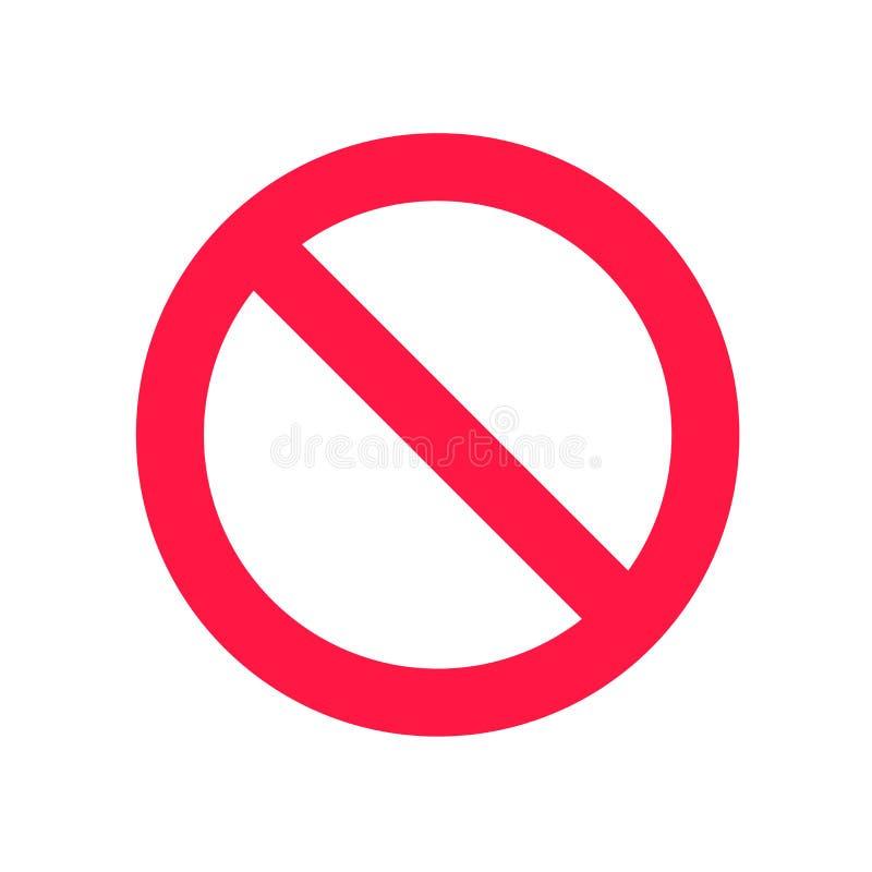 Niedozwolony szyldowy ikona wektoru znak i symbol odizolowywający na białym tle, Zakazującym szyldowego logo pojęcie ilustracji